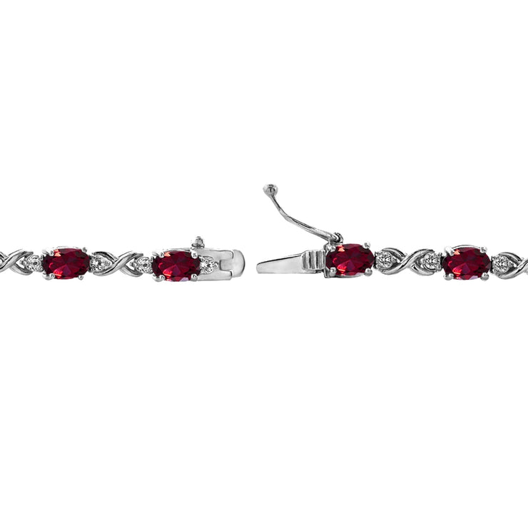Sterling Silver Created Ruby 6x4mm Oval Infinity Bracelet with White Topaz Accents