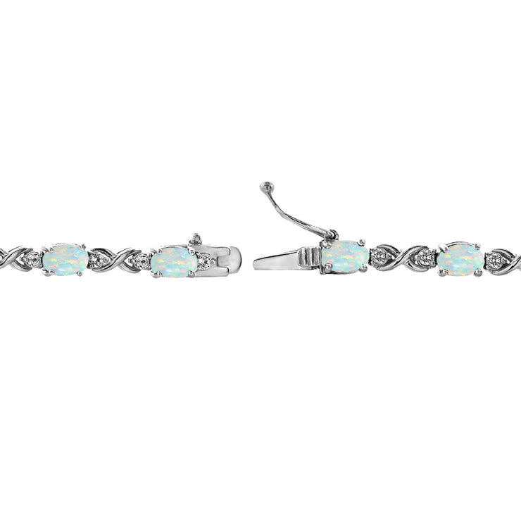 Sterling Silver Created White Opal 6x4mm Oval Infinity Bracelet with White Topaz Accents