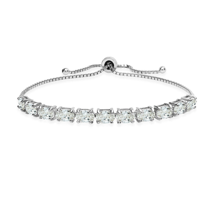 Sterling Silver 6x4mm Oval Adjustable Bracelet Made with Swarovski Zirconia