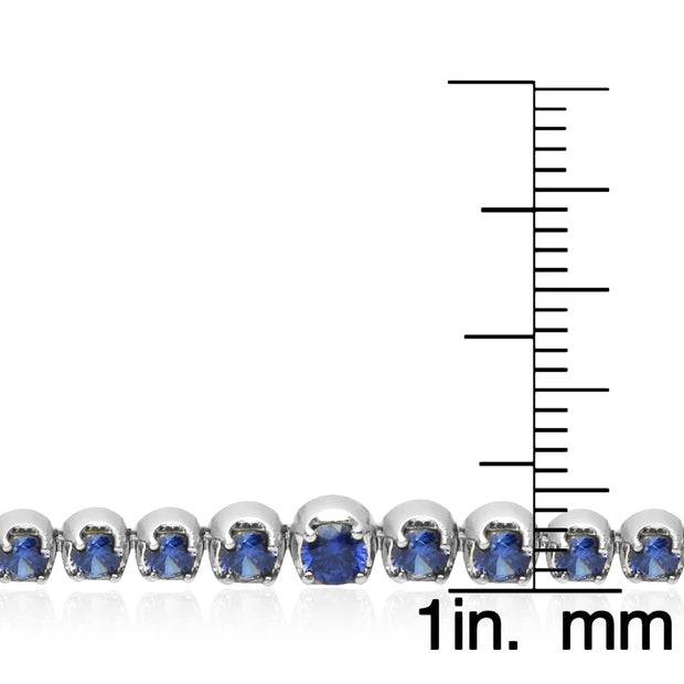 Sterling Silver Blue Cubic Zirconia Round Graduated Adjustable Bolo Bracelet