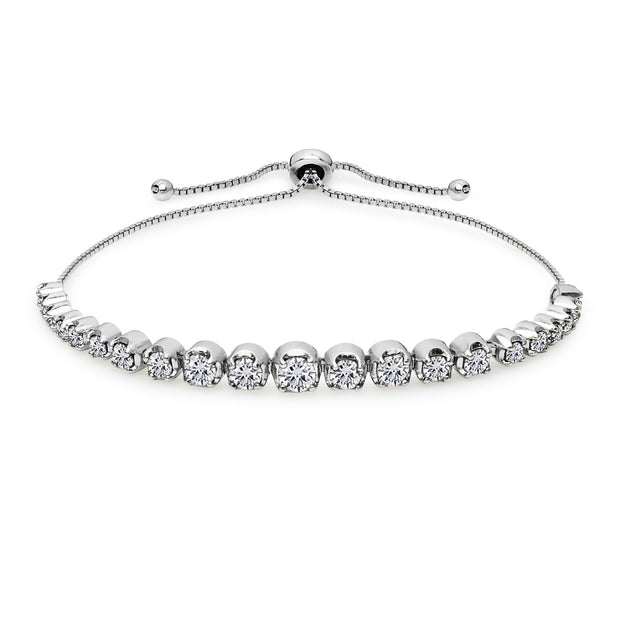 Sterling Silver Cubic Zirconia Round Graduated Adjustable Bolo Bracelet