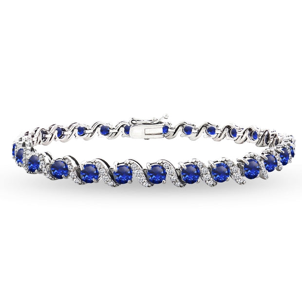 Sterling Silver Created Blue Sapphire 4mm Round-Cut S Design Tennis Bracelet with White Topaz Accents
