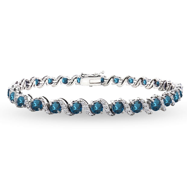 Sterling Silver London Blue Topaz 4mm Round-Cut S Design Tennis Bracelet with White Topaz Accents