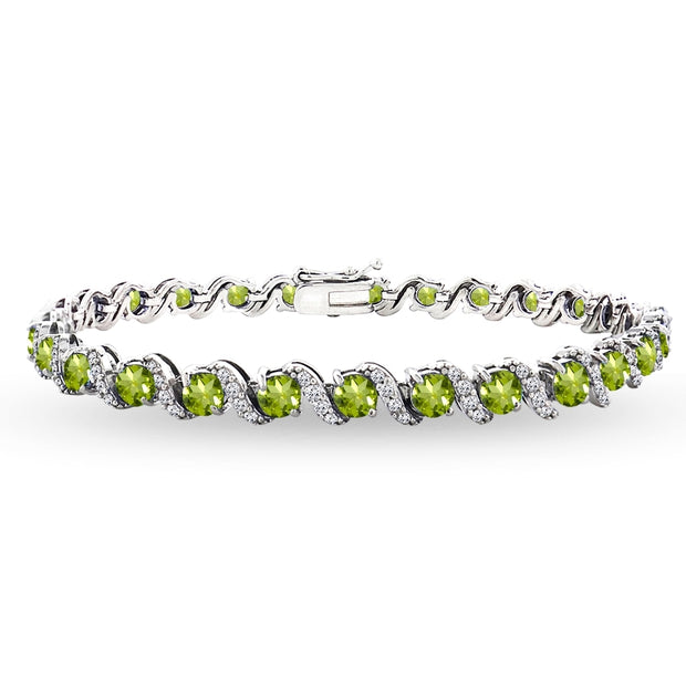 Sterling Silver Periodot 4mm Round-Cut S Design Tennis Bracelet with White Topaz Accents