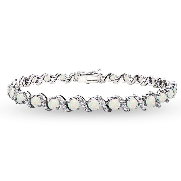 Sterling Silver Created White Opal 4mm Round-Cut S Design Tennis Bracelet with White Topaz Accents