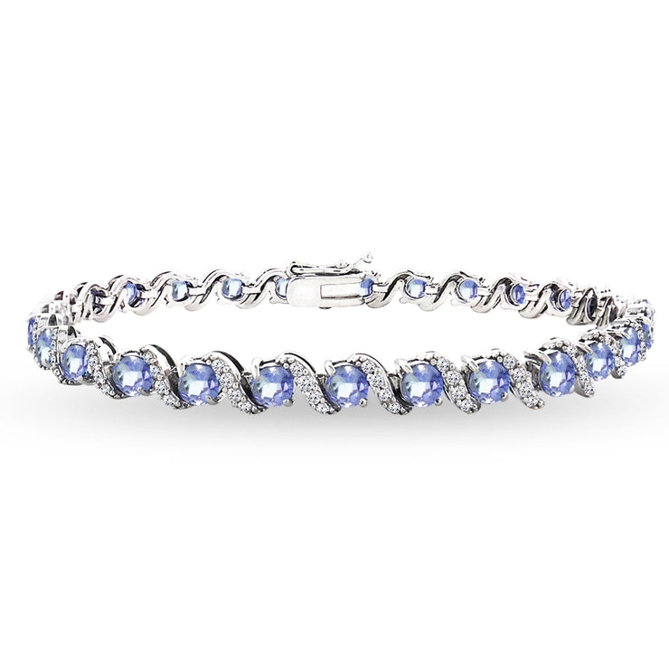 Sterling Silver Tanzanite 4mm Round-Cut S Design Tennis Bracelet with White Topaz Accents