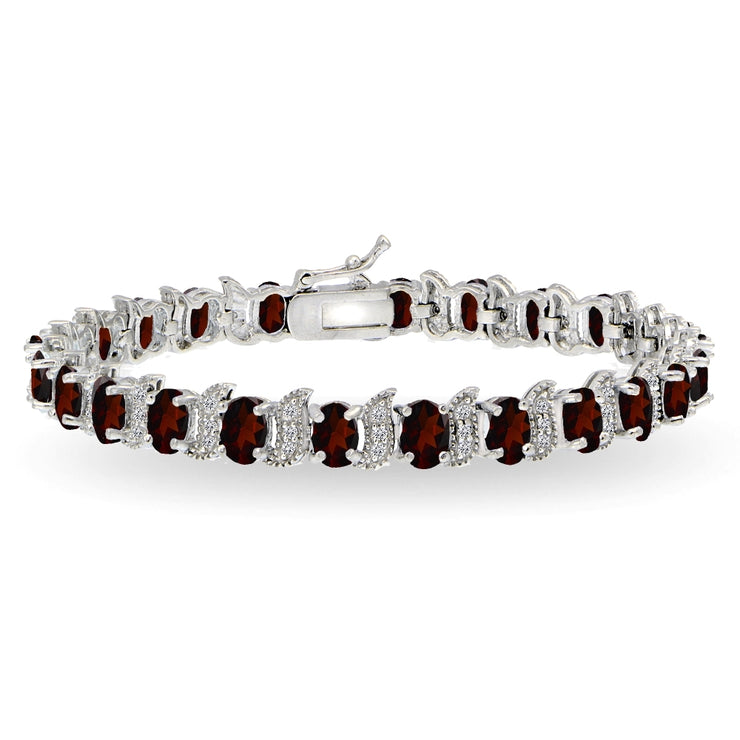 Sterling Silver Garnet 6x4mm Oval and S Tennis Bracelet with White Topaz Accents