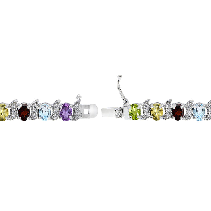 Sterling Silver Multi Gemstone 6x4mm Oval and S Tennis Bracelet with White Topaz Accents