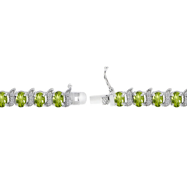 Sterling Silver Peridot 6x4mm Oval and S Tennis Bracelet with White Topaz Accents