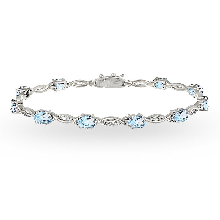 Sterling Silver Blue and White Topaz Oval-Cut Swirl Tennis Bracelet