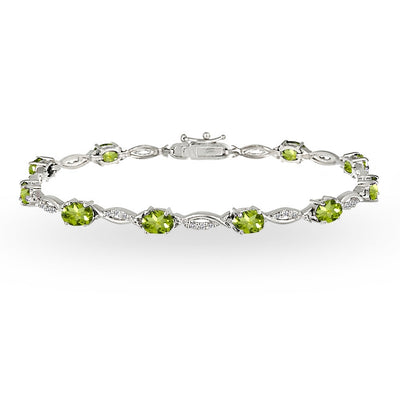 Sterling Silver Peridot and White Topaz Oval-Cut Swirl Tennis Bracelet