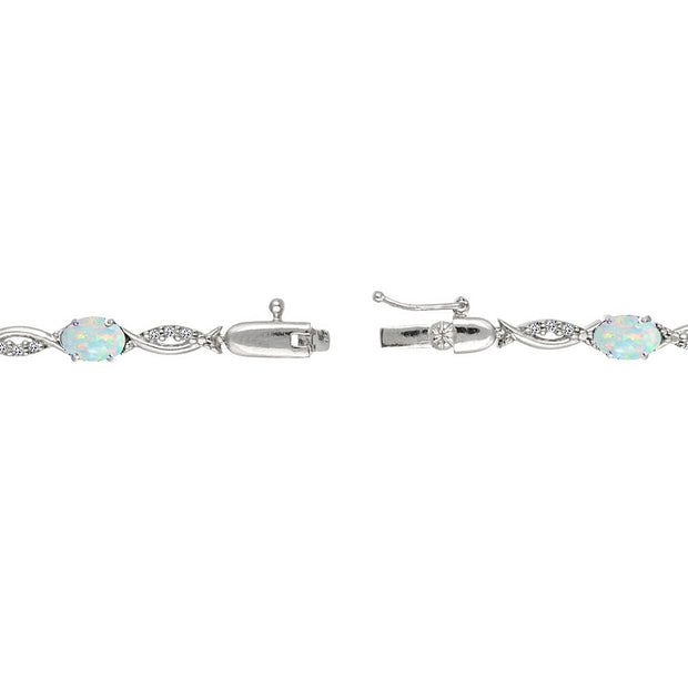Sterling Silver Created White Opal and White Topaz Oval-Cut Swirl Tennis Bracelet