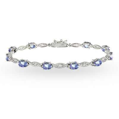 Sterling Silver Tanzanite and White Topaz Oval-Cut Swirl Tennis Bracelet