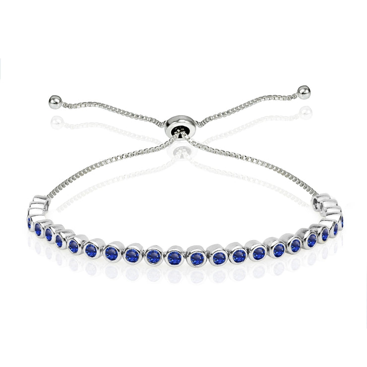 Sterling Silver Created Blue Sapphire 2mm Round Bezel-set Adjustable Dainty Tennis Bracelet