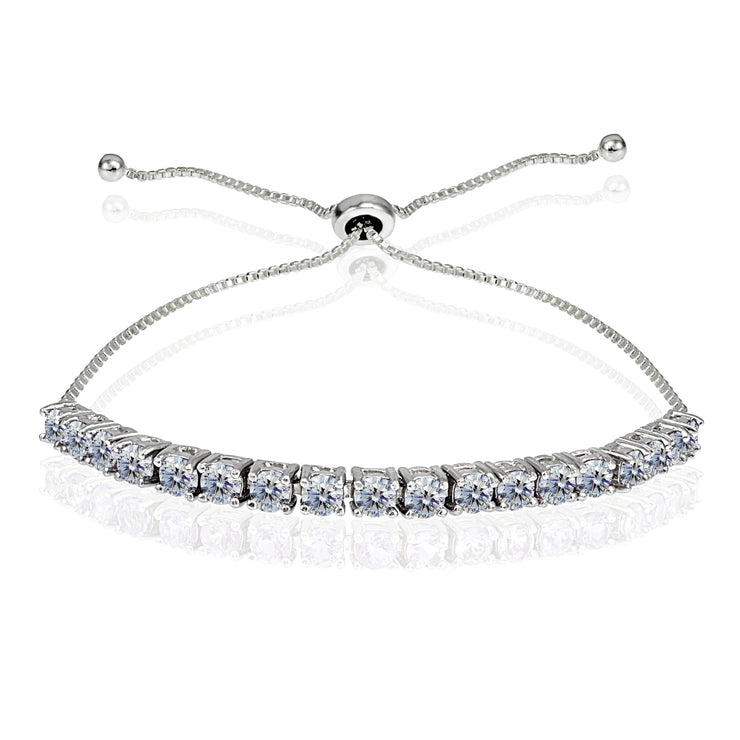 Sterling Silver 3mm Clear Round-cut Bolo Adjustable Bracelet made with Swarovski Crystals