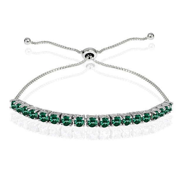Sterling Silver 3mm Green Round-cut Bolo Adjustable Bracelet made with Swarovski Crystals