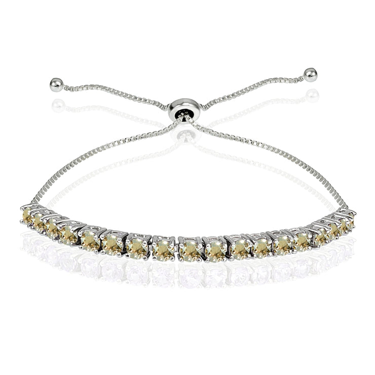 Sterling Silver 3mm Golden Shadow Round-cut Bolo Adjustable Bracelet made with Swarovski Crystals