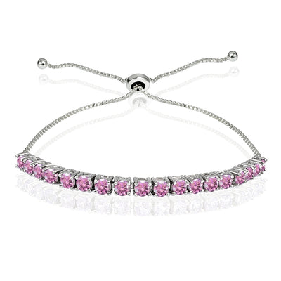 Sterling Silver 3mm Light Rose Round-cut Bolo Adjustable Bracelet made with Swarovski Crystals