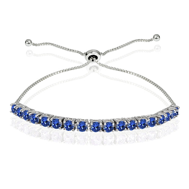 Sterling Silver 3mm Royal Blue Round-cut Bolo Adjustable Bracelet made with Swarovski Crystals