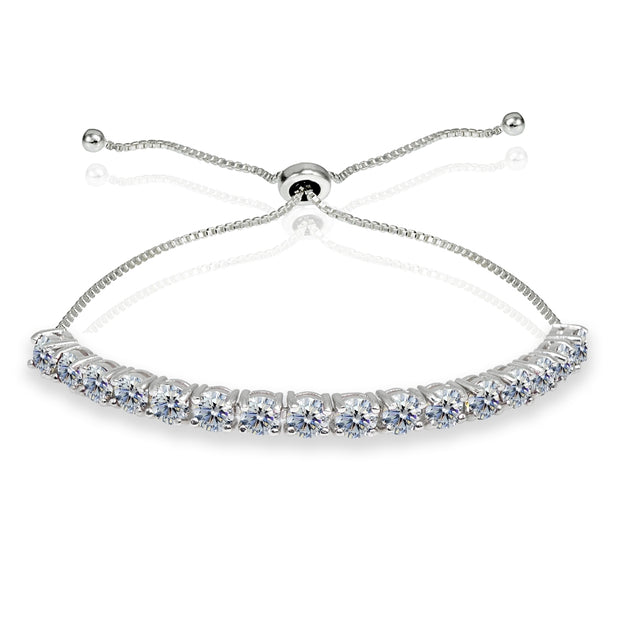 Sterling Silver 4mm Clear Round-cut Bolo Adjustable Bracelet made with Swarovski Crystals