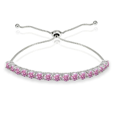 Sterling Silver 4mm Light Rose Round-cut Bolo Adjustable Bracelet made with Swarovski Crystals