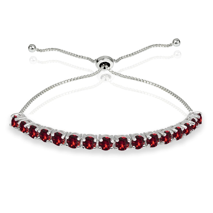 Sterling Silver 4mm Red Round-cut Bolo Adjustable Bracelet made with Swarovski Crystals