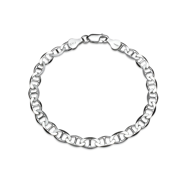 Sterling Silver High Polished Italian Bold Mariner Link Chain Bracelet, 7 Inches