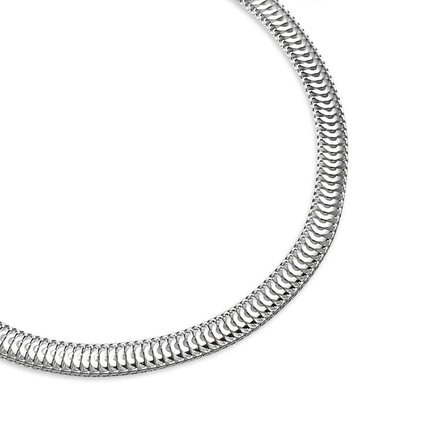Sterling Silver High Polished Italian 3.5mm Sleek Snake Chain Bracelet, 7 Inches