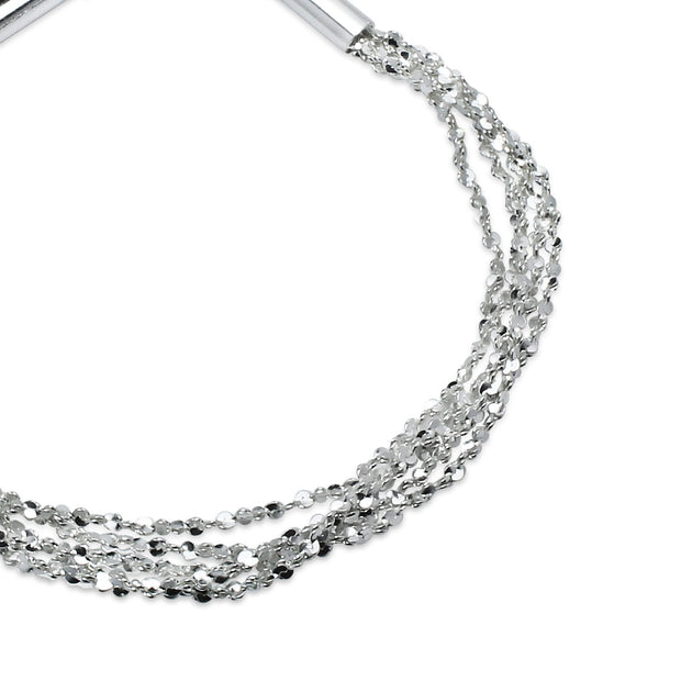 Sterling Silver High Polished Twisted Five Layer Diamond-Cut Chain Bracelet, 8 Inches
