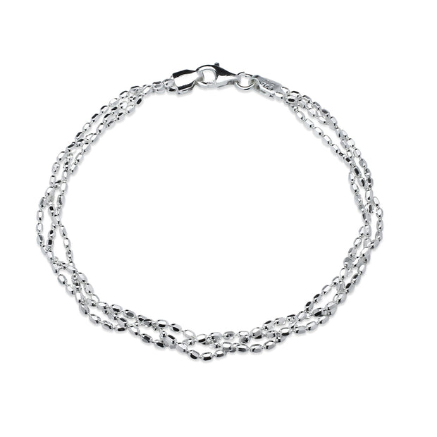 Sterling Silver Polished Italian Triple Layer Oval Diamond-Cut Braided Bead Chain Bracelet, 7 Inches