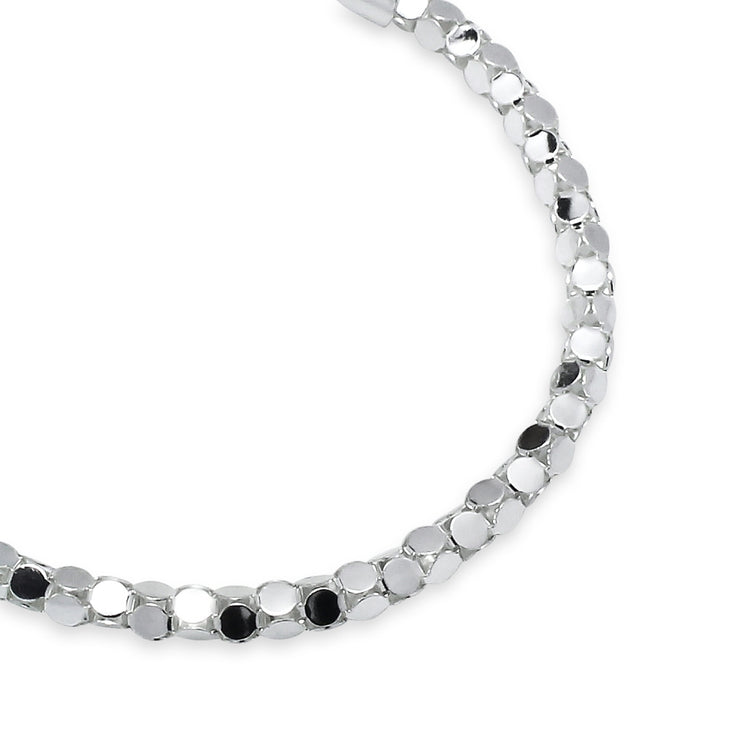 Sterling Silver High Polished Italian Mirror Popcorn Chain Bracelet, 7.25 Inches