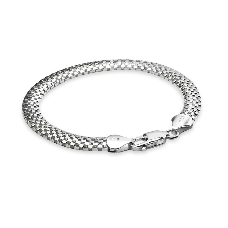 Sterling Silver High Polished Dainty Italian Mesh Tube Chain Bracelet, 7.25 Inches