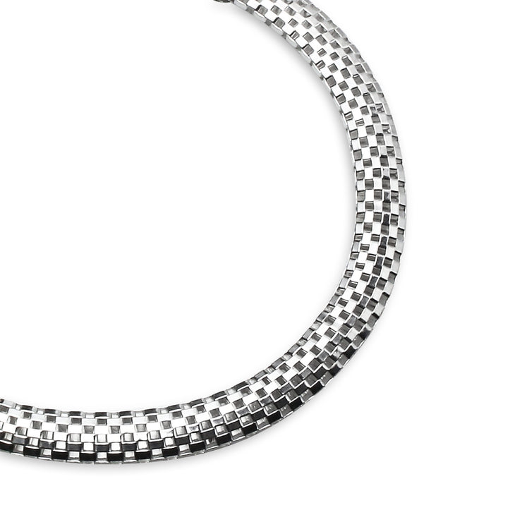 Sterling Silver High Polished Italian Mesh Tube Chain Bracelet, 7 Inches