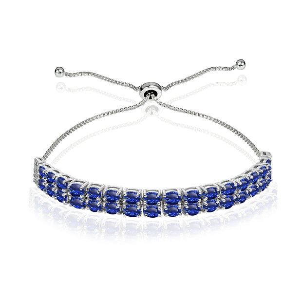 Sterling Silver Created Blue Sapphire Oval-Cut Two Row Adjustable Tennis Bracelet