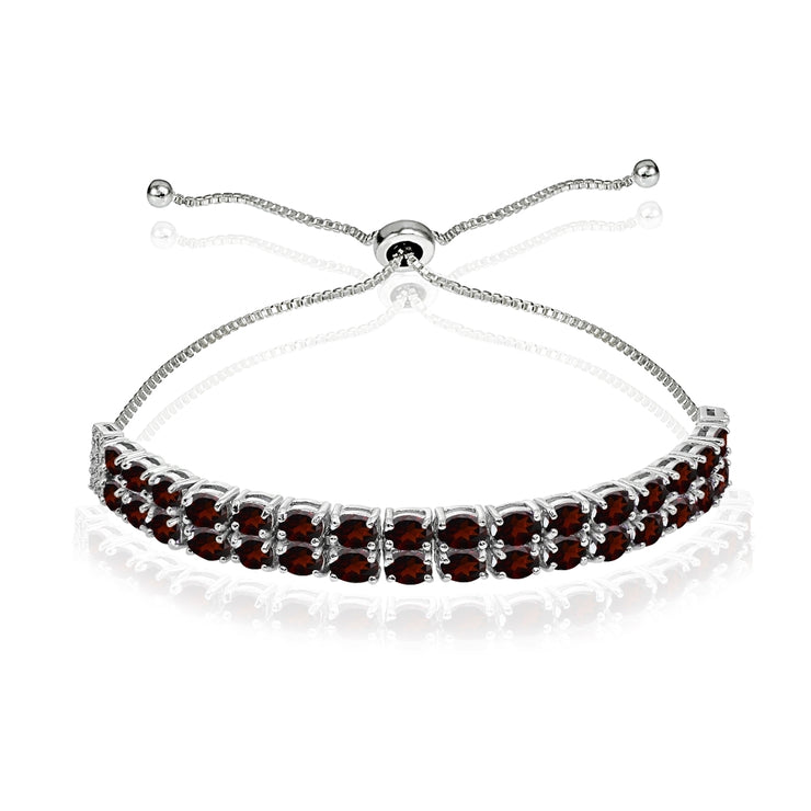 Sterling Silver Garnet Oval-Cut Two Row Adjustable Tennis Bracelet
