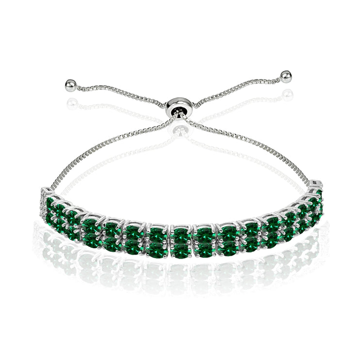 Sterling Silver Created Emerald Oval-Cut Two Row Adjustable Tennis Bracelet