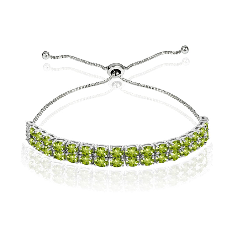 Sterling Silver Peridot Oval-Cut Two Row Adjustable Tennis Bracelet