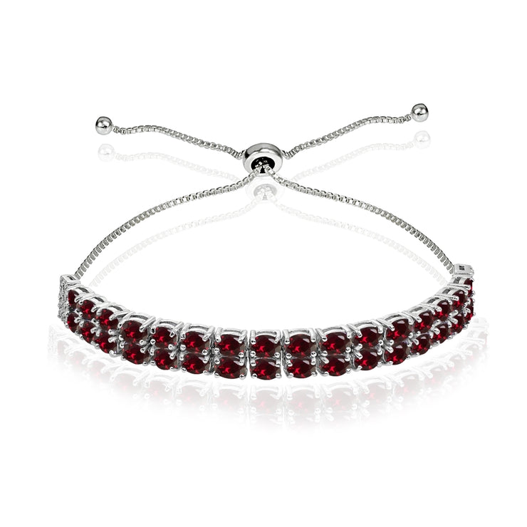 Sterling Silver Created Ruby Oval-Cut Two Row Adjustable Tennis Bracelet