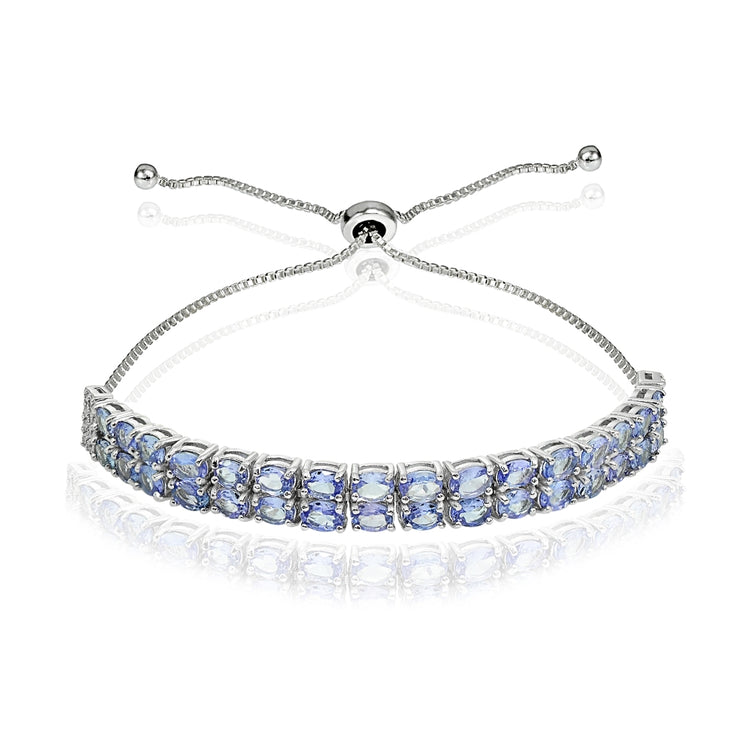 Sterling Silver Tanzanite Oval-Cut Two Row Adjustable Tennis Bracelet