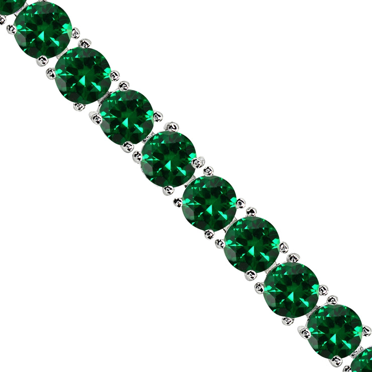 Sterling Silver Created Emerald 6mm Round-cut Classic Tennis Bracelet