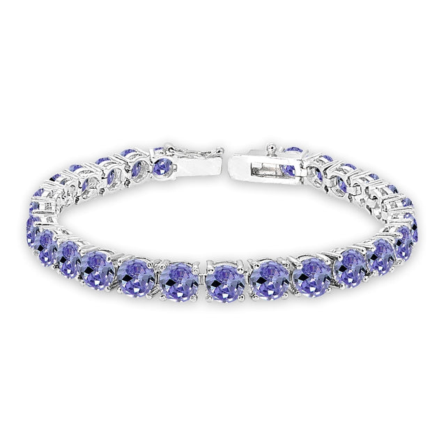 Sterling Silver Created Tanzanite 6mm Round-cut Classic Tennis Bracelet