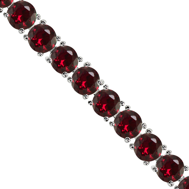 Sterling Silver Created Ruby 6mm Round-cut Classic Tennis Bracelet