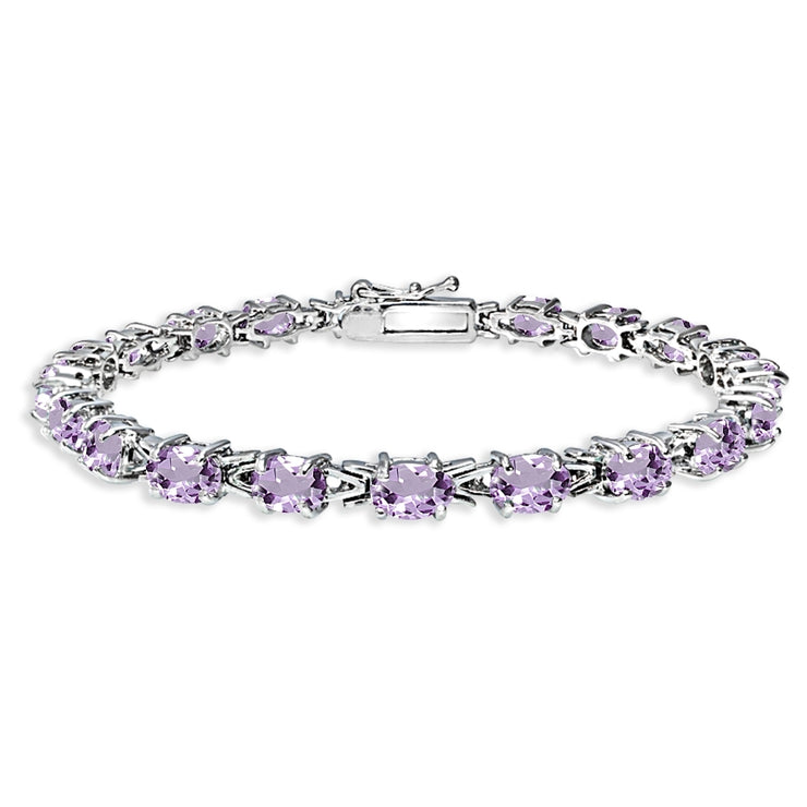 Sterling Silver Polished Amethyst 6x4mm Oval-cut Link Tennis Bracelet