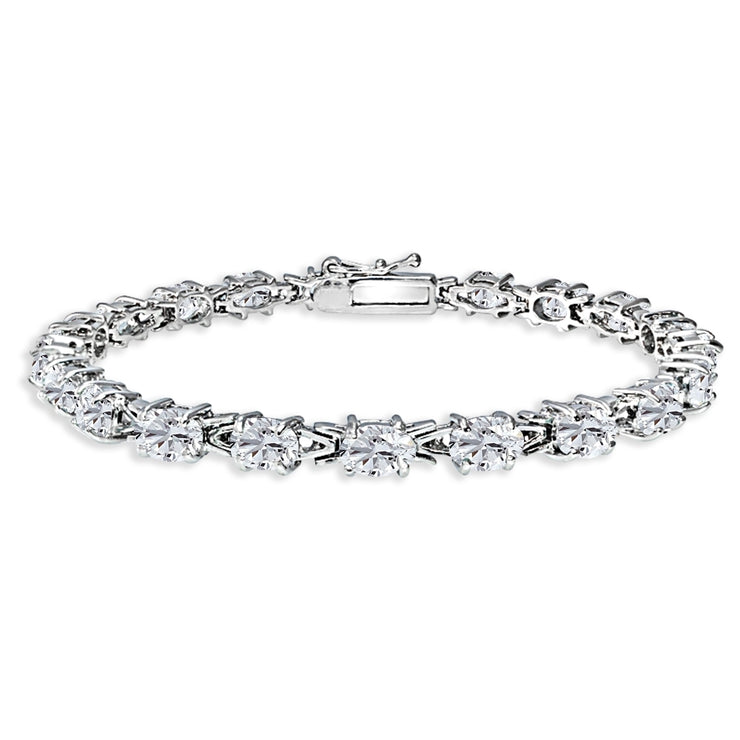 Sterling Silver Polished Created White Sapphire 6x4mm Oval-cut Link Tennis Bracelet