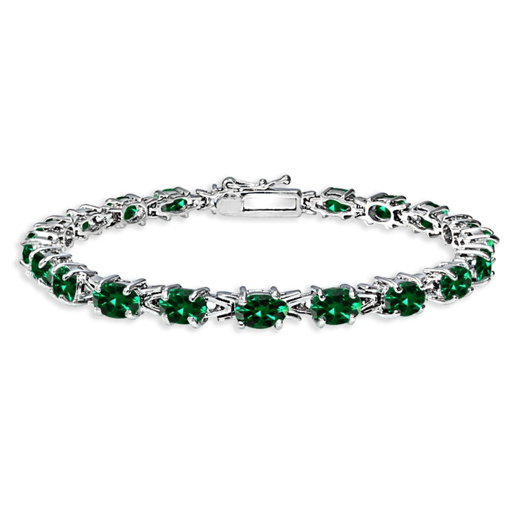 Sterling Silver Polished Created Emerald 6x4mm Oval-cut Link Tennis Bracelet
