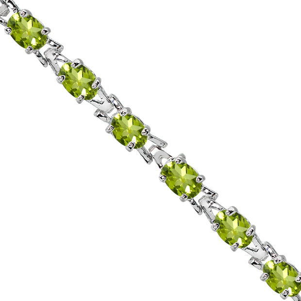 Sterling Silver Polished Peridot 6x4mm Oval-cut Link Tennis Bracelet