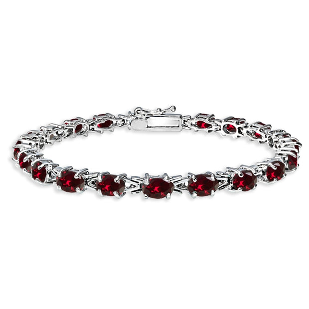 Sterling Silver Polished Created Ruby 6x4mm Oval-cut Link Tennis Bracelet