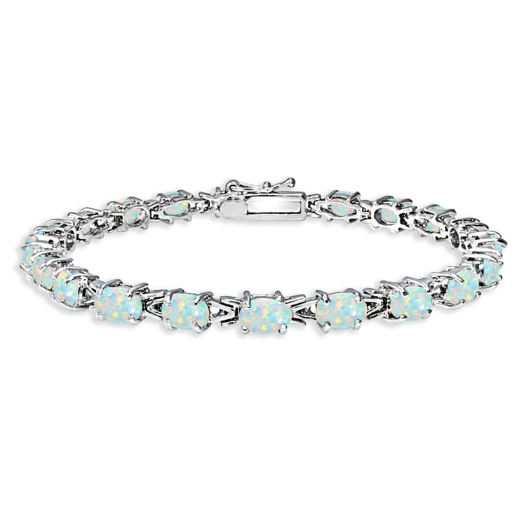 Sterling Silver Polished Created White Opal 6x4mm Oval-cut Link Tennis Bracelet