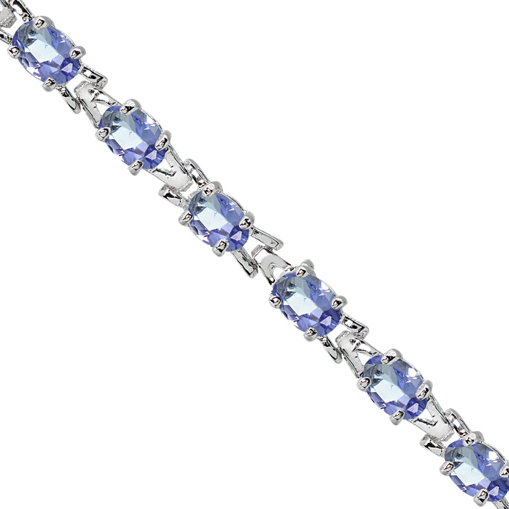 Sterling Silver Polished Tanzanite 6x4mm Oval-cut Link Tennis Bracelet