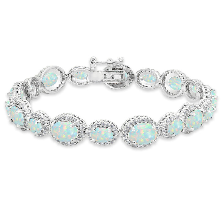 Sterling Silver Created Opal & White Topaz Oval Halo Statement Bracelet